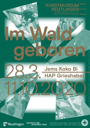 "Ausstellungsplakat ""Im Wald geboren. Jems Koko Bi & HAP Grieshaber"" Gestaltung: Studio Pandan"
