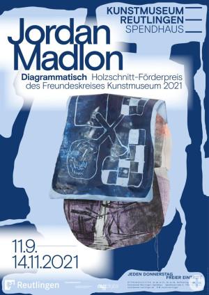 Plakat zur Ausstellung Jordan Madlon. Diagrammatisch, Gestaltung Studio Pandan